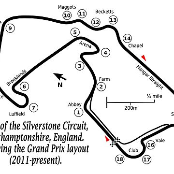 SILVERSTONE, Map of the Silverstone Circuit, Northamptonshire, England.  Showing the Grand Prix layout (2011-present). by TOMSREDBUBBLE