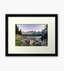 Sunset at the lake of Fusine, Italy Framed Print