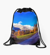 colorful sunset in the Valle Aurina Drawstring Bag
