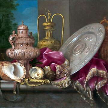 Meiffren Conte Still Life with Silver and Gold Plate, Shells, and a Sword by pdgraphics