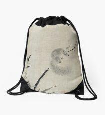 Kano Tan'yū Squirrel on Bamboo Drawstring Bag