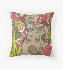 Mushroom village Throw Pillow