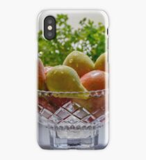 Ripe apples and pears with dew in a crystal vase iPhone Case