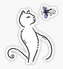 Stylized cat with dragonfly Sticker