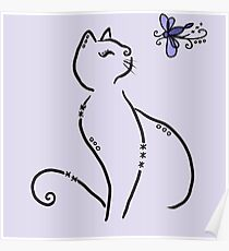 Stylized cat with dragonfly Poster