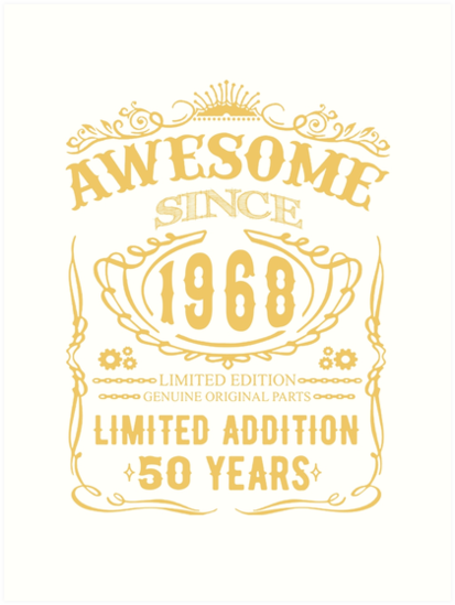 50 Th Birthday Shirt Happy Fifty Years Old 1968 Gift