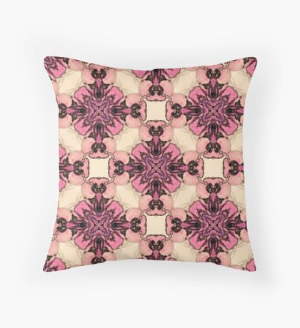 Pink and Purple Watercolor Orchids  Throw Pillow