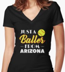 Just A Baller From Arizona Women's Fitted V-Neck T-Shirt