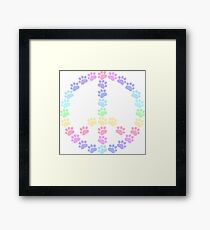 Pastel Peace Paws Framed Print