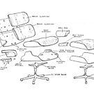 Eames Lounge Chair Diagramm (dunkle Linien) von Diane LeonardArt