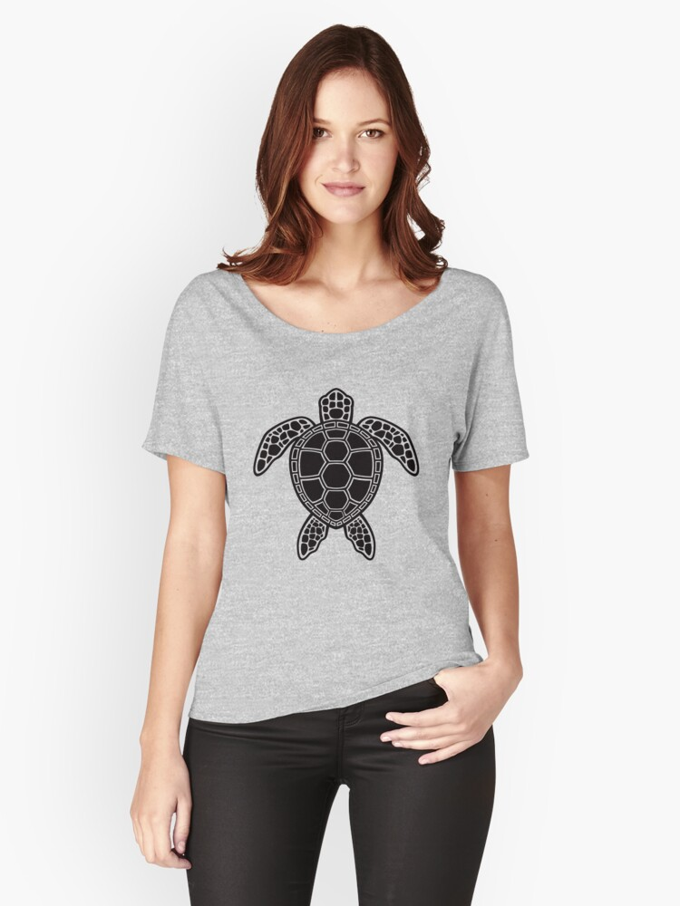 Green Sea Turtle Design - Black Women's Relaxed Fit T-Shirt Front