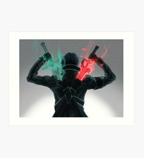 Lámina artística Kirito x Asuna Espada Arte en línea SAO