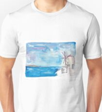 Santorini Oia Greece windmill and sea Unisex T-Shirt