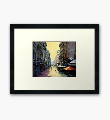 L'escargot on Rue Montorgueil,  Paris,  France - with border Framed Print