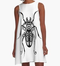 Black and White Illustration of Exotic Beetle A-Line Dress