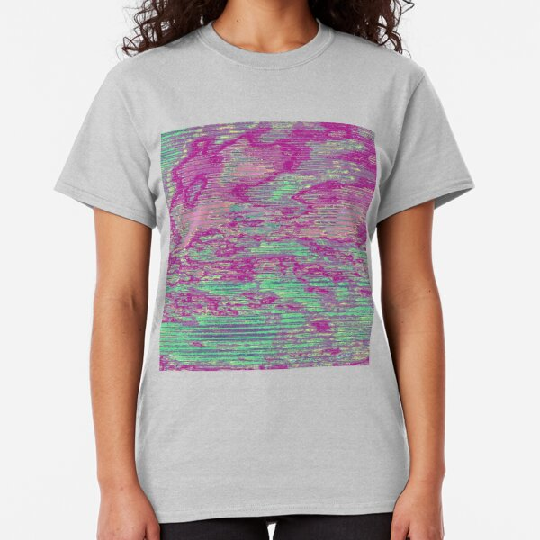 Teal and Pink Sky Glitch Art Classic T-Shirt