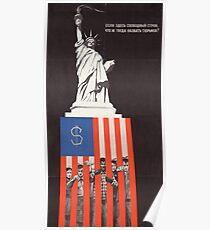 """""""Wenn das Freiheit ist, was ist dann Gefängnis?"""", Antikapitalistisches Propagandaplakat der Sowjetunion, 1968 Poster"""