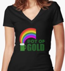 Pot Of Gold Women's Fitted V-Neck T-Shirt