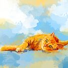 Cat Dream - orange tabby cat painting abstract by floartstudio