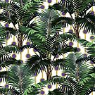 Palms on Beads Stripe Pattern - White Ultra Violet Gold by Nicole Demereckis