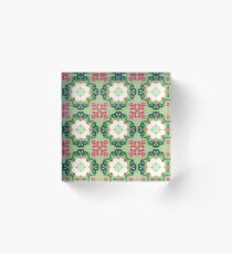 plant chiku conventional japan seamless colorful repeat pattern Acrylic Block