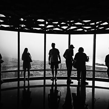 B & W Silhouettes in Burj Khalifa at Sunset - Dubai by Photograph2u