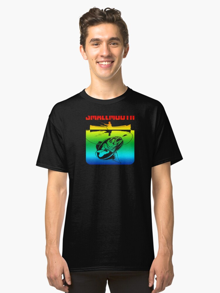 Smallmouth Bass Boat Retro Rainbow Vintage Fishing  Lovers Gift Classic T-Shirt Front
