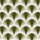 Olive Green Retro Geometric Peacock Pattern by Eyestigmatic