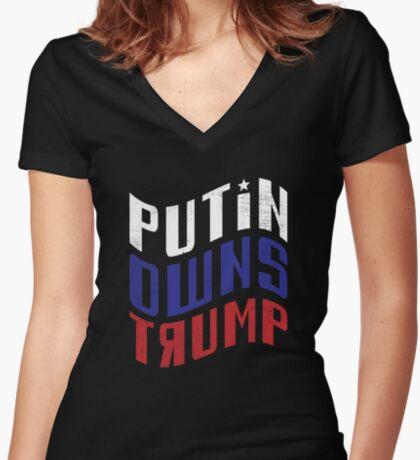 Putin Owns Trump Women's Fitted V-Neck T-Shirt