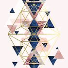 Blush Pink and Navy Geometric Perfection by UrbanEpiphany