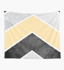 Chevrons in Yellow, Black and Gray Wall Tapestry