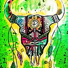 Native Inspired Bull Skull in Green by ArtbyCherylS