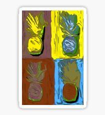 POP ART PINEAPPLES | FENCE ART-BY JANE HOLLOWAY Sticker