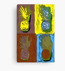 POP ART PINEAPPLES   FENCE ART-BY JANE HOLLOWAY Canvas Print