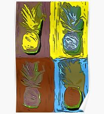 POP ART PINEAPPLES | FENCE ART-BY JANE HOLLOWAY Poster