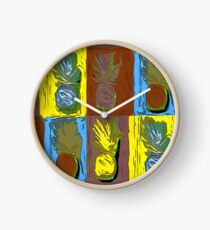 POP ART PINEAPPLES | FENCE ART-BY JANE HOLLOWAY Clock