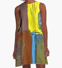 POP ART PINEAPPLES | FENCE ART-BY JANE HOLLOWAY A-Line Dress