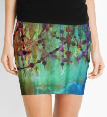 PRISMACOLOR PEARLS 1 Colorful Rainbow Watercolor Abstract Painting Blue Green Teal Red Ocean Waves Fine Art Mini Skirt
