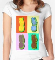 LIMITED EDITION PINEAPPLE POP ART -THE FAB  4- JANE HOLLOWAY  Women's Fitted Scoop T-Shirt