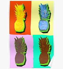 LIMITED EDITION PINEAPPLE POP ART -THE FAB  4- JANE HOLLOWAY  Poster