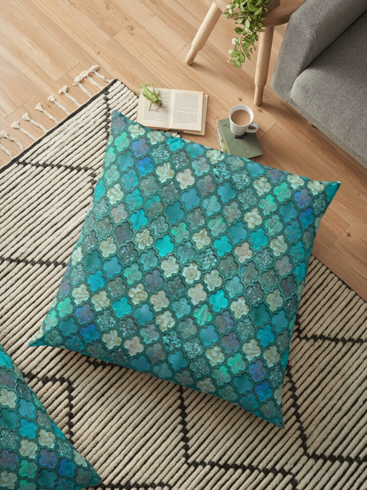 Moroccan Inspired Precious Tile Pattern Floor Pillow By Artsandsoul