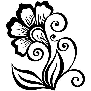 Monochrome Floral Design Element in Doodle Line Style by lissantee