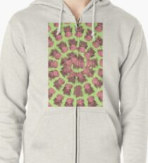 SPIRALIZED PINEAPPLE POP ART| LIGHT GREEN | PASSIONATE BLUSH PINK  Zipped Hoodie