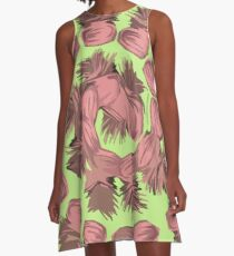 SPIRALIZED PINEAPPLE POP ART| LIGHT GREEN | PASSIONATE BLUSH PINK  A-Line Dress