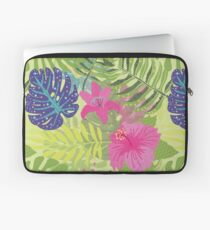 Colorful Abstract Aloha Tropical Foliage Pattern Laptop Sleeve