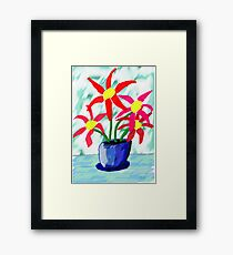 Primitive Vase & Flowers Framed Print