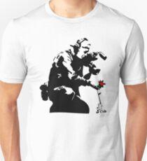 Banksy Flower Photographer Slim Fit T-Shirt