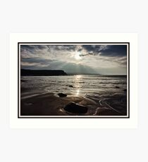 evening capture of my number 1 beach in county clare, lahinch  beach , lehinch, county clare, ireland. cliffs of moher in the very far distance. ireland. Art Print