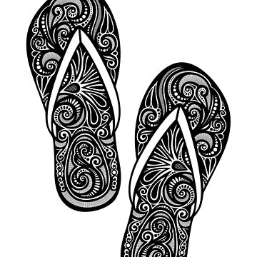 Decorative Pair of Flip-flops with Doodle Ornament by lissantee
