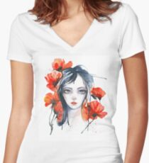 And Poppyflowers are Blossoming...  Women's Fitted V-Neck T-Shirt